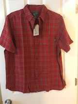 Men's Woolrich Plaid Shirt Sz L Large Button Front Short Sleeve Casual New - $27.99