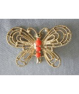 Gerry's Mid Century Modern Faux Coral Gold-tone Butterfly Brooch   - $12.95