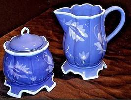 Kimberly Hodges Blue Pitcher and Container with Lid AA18-1254 Vintage Ha... - $129.95