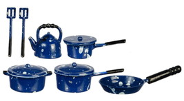 Blue Spatter Ware Pots Pans Skillet 10 PC Set 1:12 Dollhouse Miniature  - $6.89