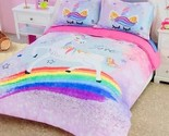 DreamPartyWorld Rainbow Unicorn Stars Comforter and Shams Set Twin Ultra Soft Ro