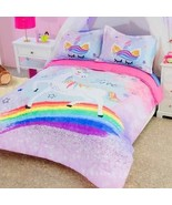 DreamPartyWorld Rainbow Unicorn Stars Comforter and Shams Set Twin Ultra... - $115.83