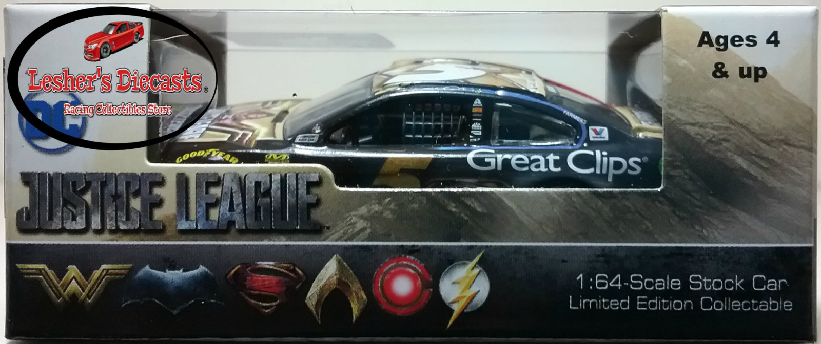 Kasey Kahne 2017 #5 Great Clips Justice League Chevy SS 1:64 ARC -