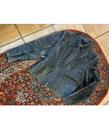 HARLEY DAVIDSON LEATHER JACKET WOMEN S BLACK DISTRESS DENIM BLUE JEAN LI... - $265.50