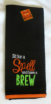 Sit For a Spell and Have A Brew Tea Towel Halloween Black Orange New 100... - $13.85