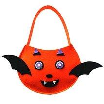 Cute DIY Halloween Kids Pumpkin Bag Trick or Treating Candy Bag,Set of 2 (Bat)