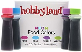 Hobbyland Neon Food Coloring Liquid Set Green, Blue, Pink, Purple.3 fl o... - £6.32 GBP