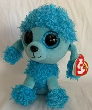 "6"" TY Beanie Boos Soft Glitter Eyes Blue Poodle Dog Girl Plush Toy Mandy... - $9.89"