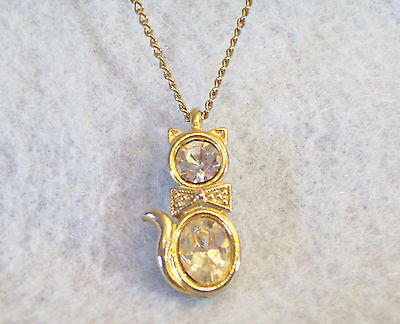 CZ Kitty Cat Pendant Cubic Zirconia Necklace Gold Plated Figural Sparkle Signed image 6