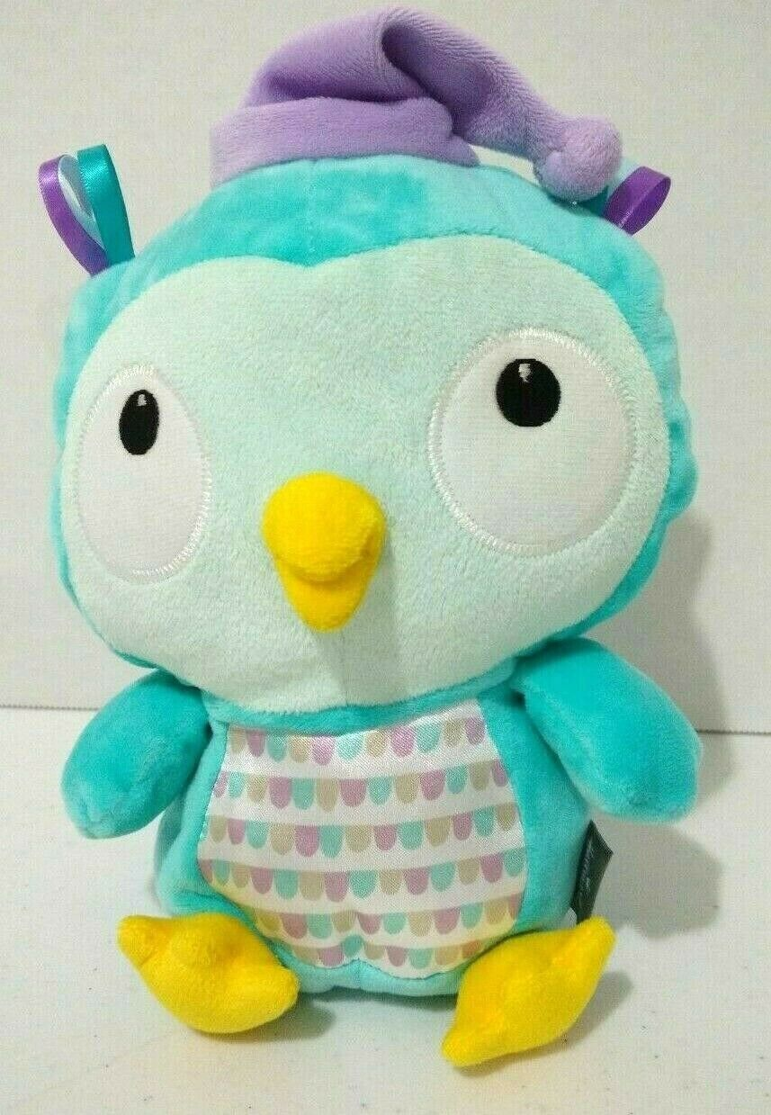 "Primary image for Hallmark Goodnight Kisses Plush Owl Teal Green 9"" Embroidered Purple Hat Ribbons"