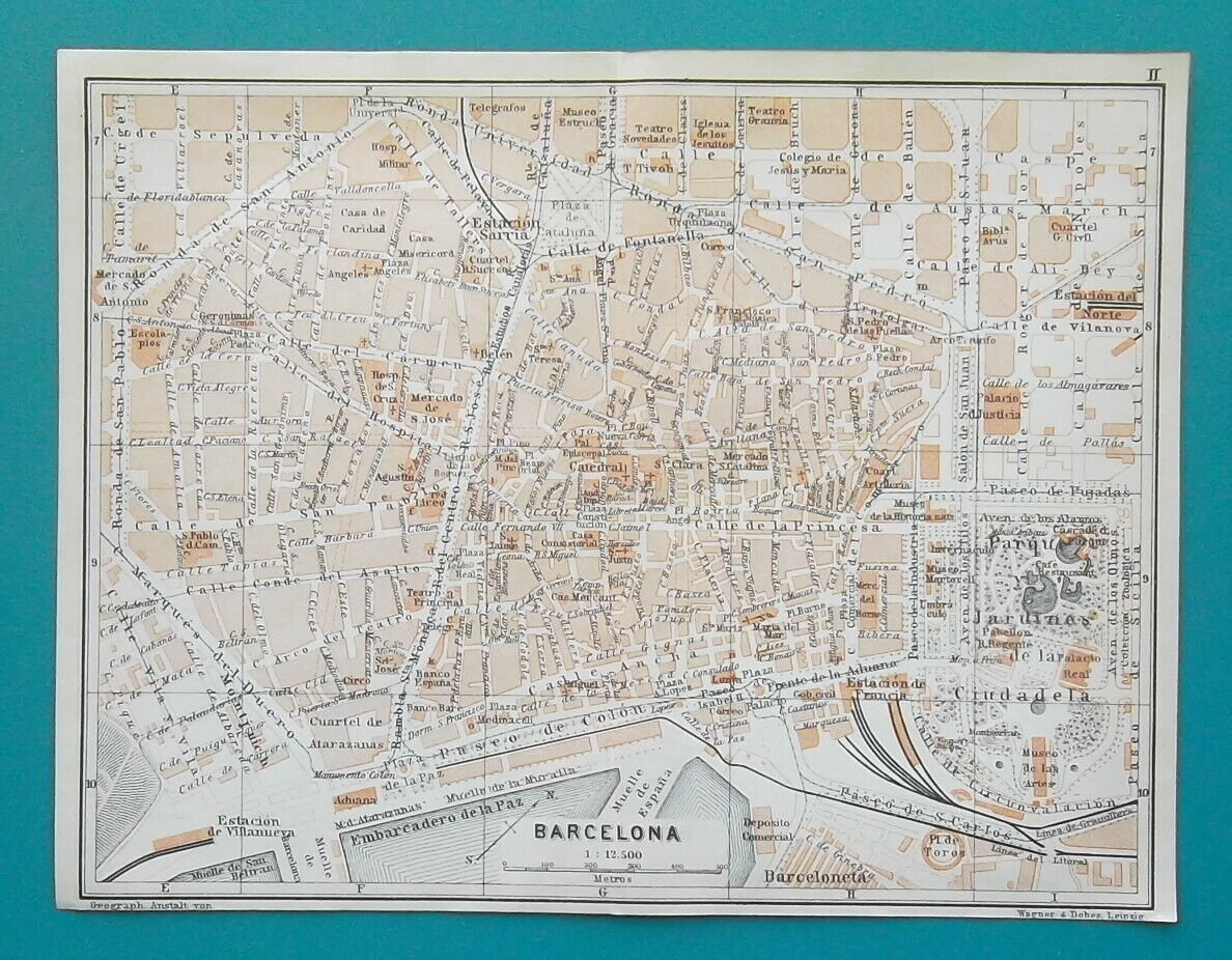 "Primary image for SPAIN BARCELONA Town City Plan - 1913 Baedeker Map 9 x 10"" (22 x 25 cm)"