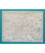 "SPAIN BARCELONA Town City Plan - 1913 Baedeker Map 9 x 10"" (22 x 25 cm) - $18.00"