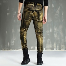 Men Fashion Paint Golden Coating Stretch Bike Jeans image 4