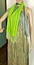 Set of 3 Lace Scarves: Green, Black & White, Gold & Black - $25.34