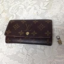 Authentic Louis Vuitton Mono Brown Leather Bi-Fold Wallet- Zip Coin Pocket (#2) - $151.95