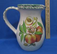 Ceramic Juice Water Pitcher w/ Peach Fruit Design Peaches Vase Decor Colorful - $23.75