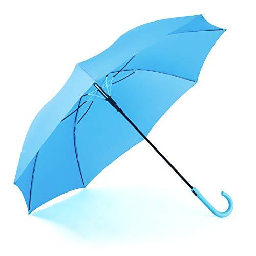 RUMBRELLA Blue Umbrella Auto Open with J Hook Handle, 50IN Stick Umbrellas Windp