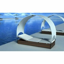 vidaXL Sun Lounger with Canopy Poly Rattan Brown Outdoor Garden Day Bed ... - $147.99