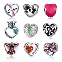 Charms Fits Pandora Bracelet Silver Plated Pave CZ Love Heart d Beads - $10.99+