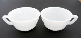 Hazel Atlas Milk Glass Coffee / Tea Cups Embossed Floral Print HA Mark L... - $9.89