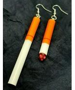 Cigarette Earrings Punk Style Smoked Unsmoked Fashion Dangle Pair - $18.32