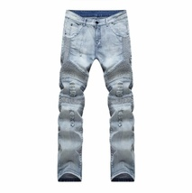 New Men hip hop Men Jeans masculina Casual Denim distressed Men's Slim Jeans pan image 4