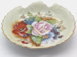 Vintage Leaf Shaped  Hand Painted Candy Trinket Dish w/ Flowers & Gold T... - $44.99