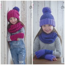 Girls Knitting Pattern K5167 Girls Cable Hat Cable Snood Easy Knit Hat, ... - $4.75