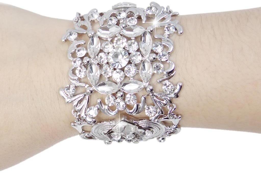 EVER FAITH Silver-Tone Bridal Art Deco Leaf Clear Austrian Crystal Bracelet