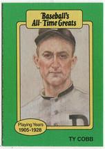 Vintage MLB 1987 Baseball's All-Time Greats Ty Cobb Detroit Tigers HOF - $7.75