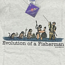 Fishing T-shirt Small Evolution Humor Fisherman Cotton Gildan Short Slee... - $20.20