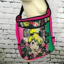Disney Tink Tote Bag Pink Urban Graffiti Adjustable Crossbody Satchel 15... - $14.84