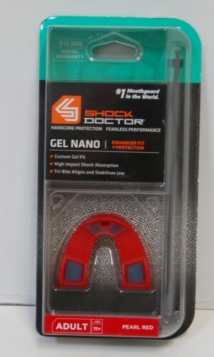 Shock Doctor 6420A Gel Nano Mouth Guard Hardcore Protection Pearl Red Color