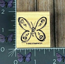 Stampin' Up! Butterfly Sketched Rubber Stamp 2002 Wood Mount #Y138 - $2.23