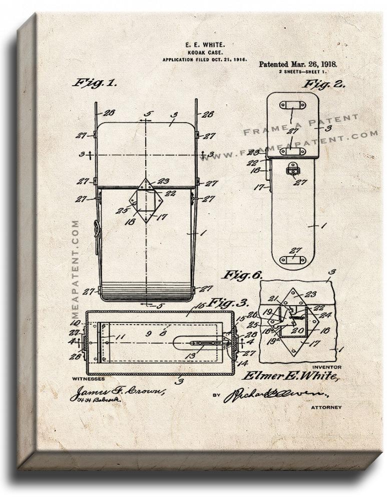 Kodak Camera Case Patent Print Old Look on Canvas - $39.95 - $159.95