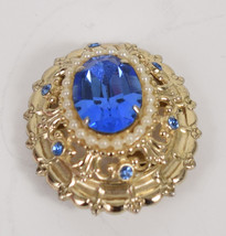 Coro Blue Cab Rhinestone Faux Pearl Brooch Pin Signed P Vintage - $23.76