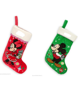 Disney Store Minnie or Mickey Mouse Christmas Stocking Red Green 2014 New - $59.95