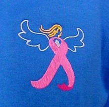 Pink Ribbon Angel T Shirt Royal Blue 3XL S/S Breast Cancer Awareness Uni... - $25.45
