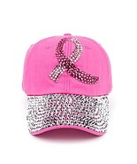 Breast Cancer Awareness Pink Ribbon Hat - Rhinestone Adjustable Womens - $19.75