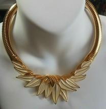 Vintage Signed Trifari Gold-tone Enamel Leaves Snake Chain Necklace Rare - $103.95