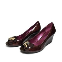 COACH POPPY JADEN CHOCOLATE PATENT LEATHER WEDGE SHOES HEELS SIZE 7.5 - $89.09