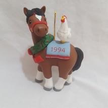 "Horse Chicken LaDene  Christmas Ornament Resin 3"" 1994 Hallmark Cock-a-D... - $9.99"