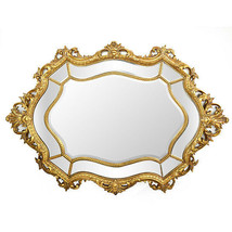 Vintage Style Queen Baroque Rococo Oval Wall Beveled Mirror Large,40'' X... - $890.01