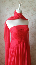 Elegant Red Strapless Sheer Mermaid Maxi Dress Chiffon Sheath Red Evening Dress image 2