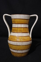 Vintage Mid-Century Vase with Scored Vertical Lines Double Handled from ... - $89.99