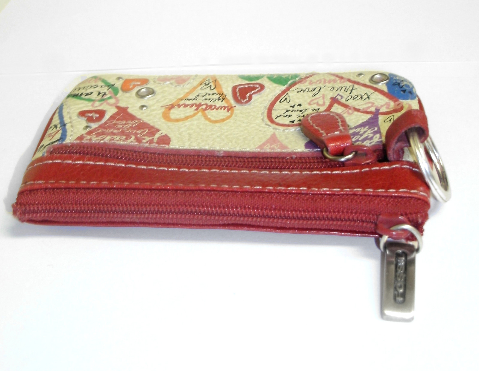 Fossil Mini ID Wallet Coin Purse Red Leather Heart Love Keychain image 4