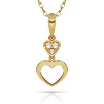0.09ct Brilliant Round Created Diamond Double Heart Pendant 14k Y Gold C... - $53.99+