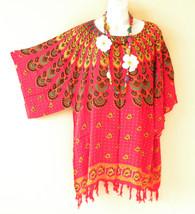 KB670 Red Paisley Batik Kaftan Poncho Kimono Tunic Blouse Top - XL, 1X, 2X, 3X - $24.65