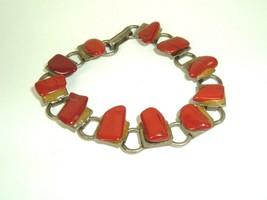 Vintage Polished Stone Link Bracelet Dark Orange Jasper? - $12.82
