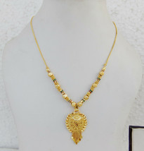 South Indian Jewelry Ethnic 22k Gold Plated Necklace Chain 22k Light Pen... - $9.49